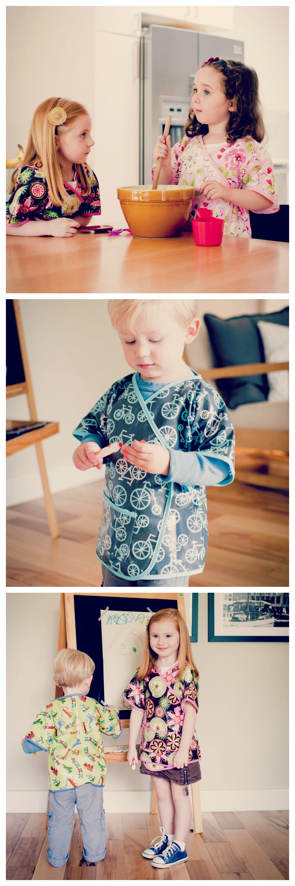 Waterproof laminated cotton kimono style art smock // timeless solutions to life's messy times