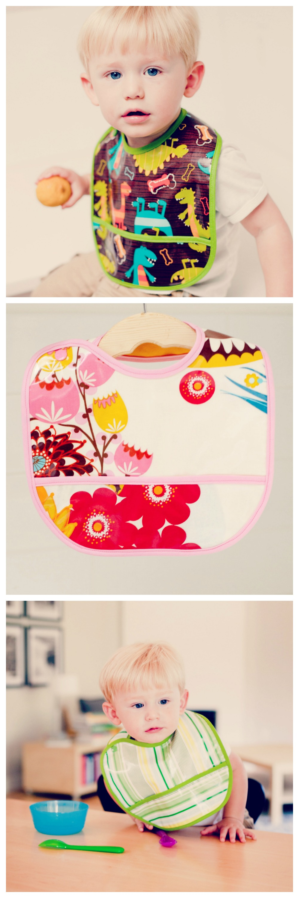 Waterproof laminated cotton and flannel child's pocket bibs, mealtime and travel solutions